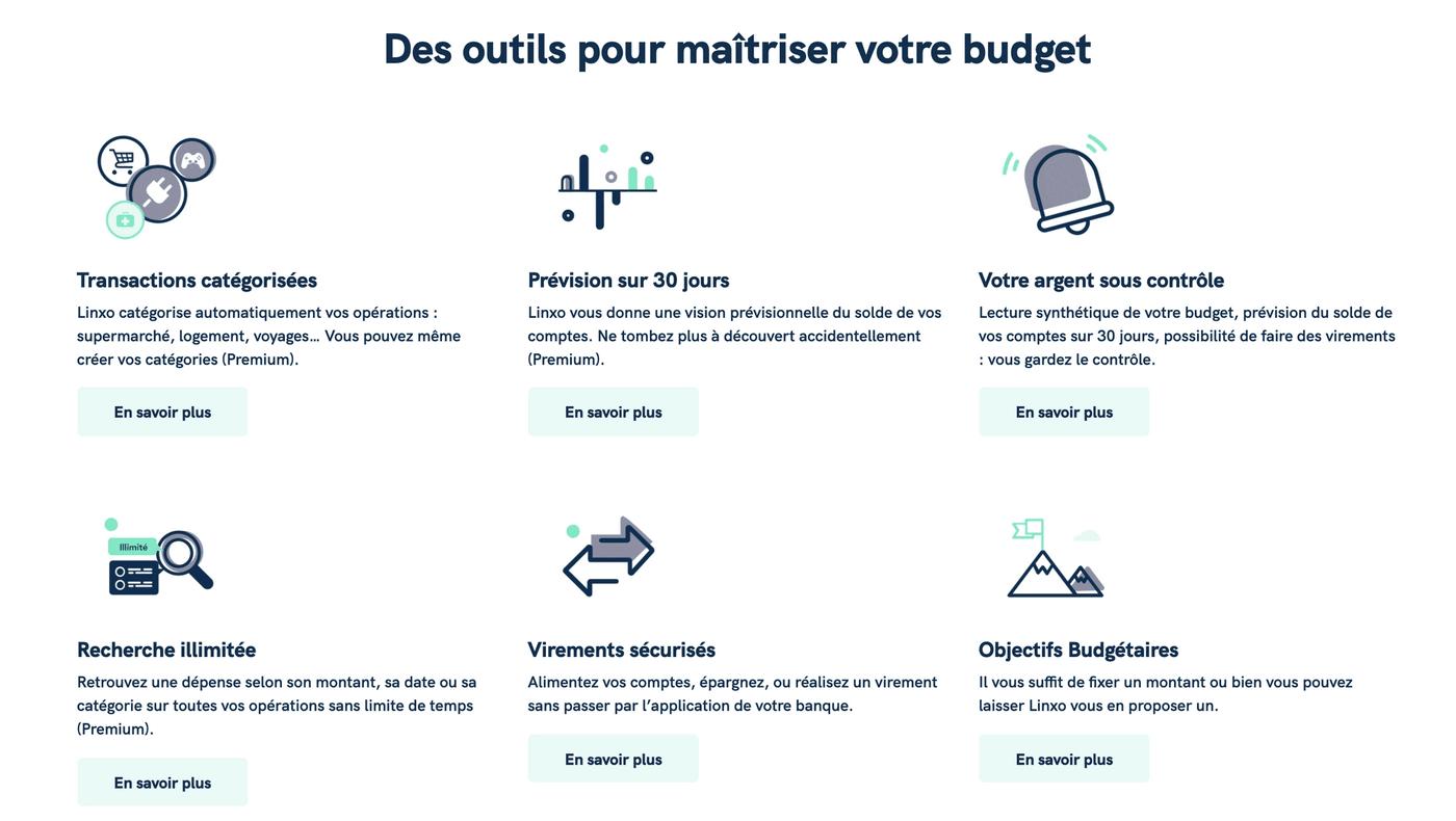 Screenshot outils du budget site de Linxo