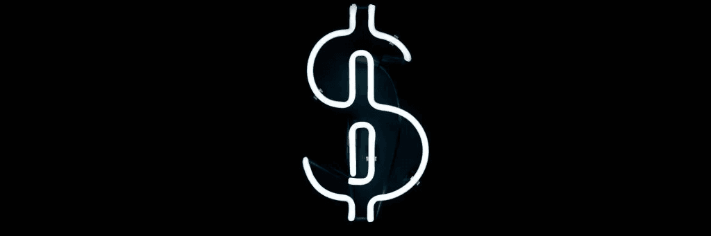 Devenir riche : un signe dollar lumineux