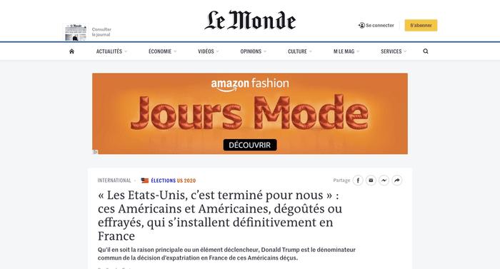 Capture d'écran pub site Le Monde
