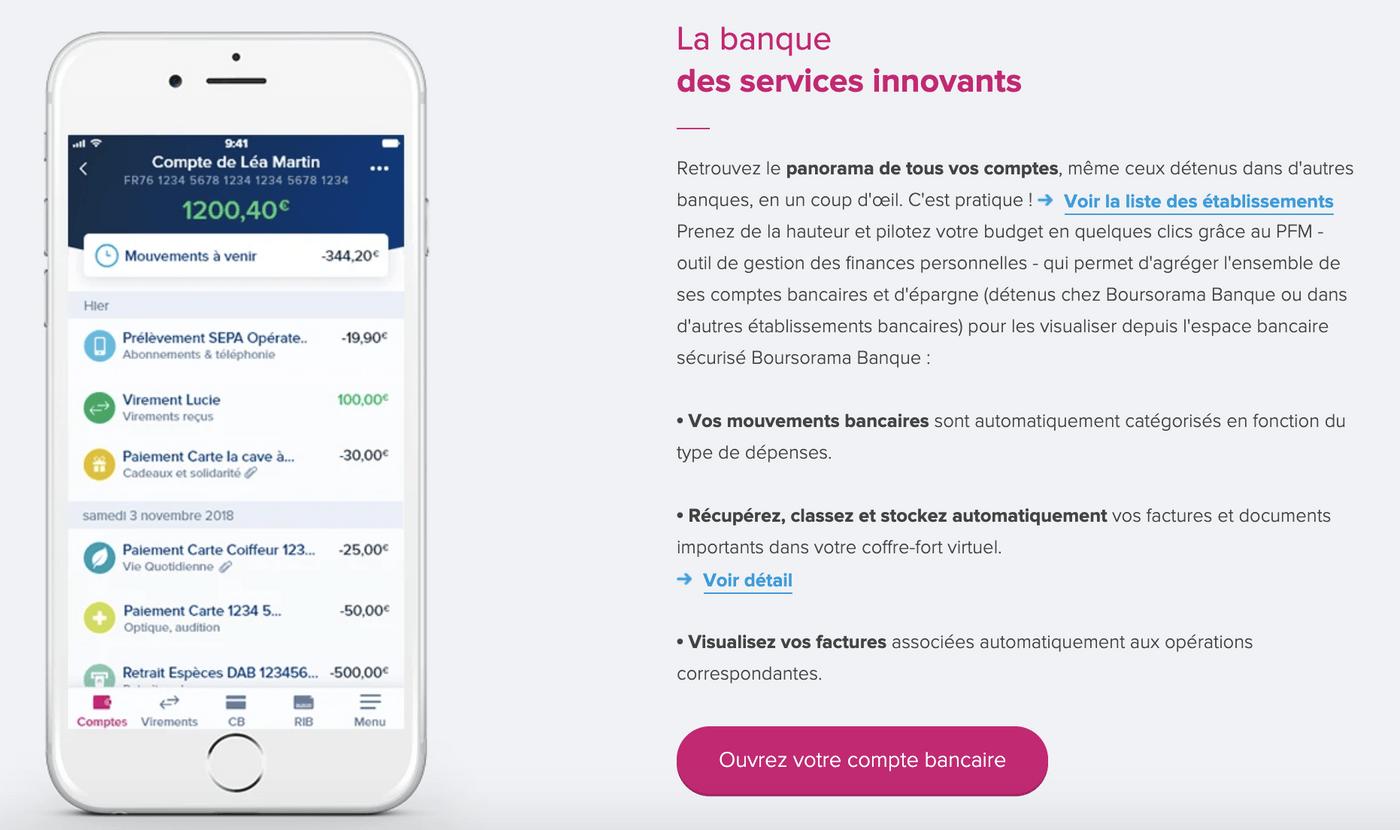 Screenshot application Boursorama Banque