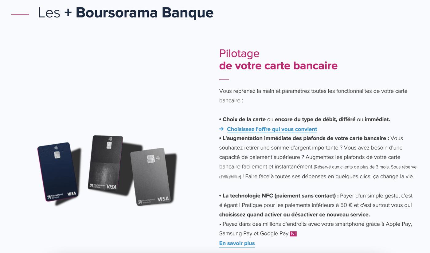 Capture d'écran du site internet de Boursorama Banque