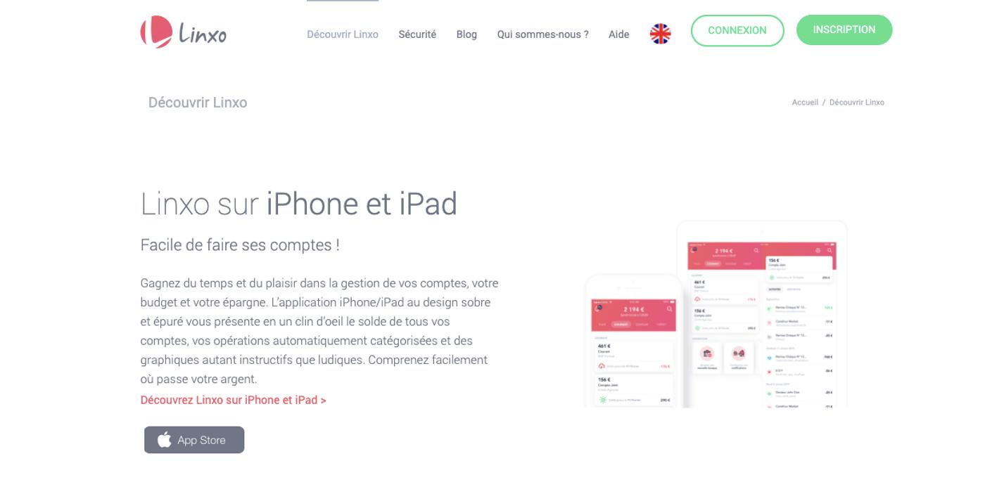 Screenshot site logiciel de budget Linxo
