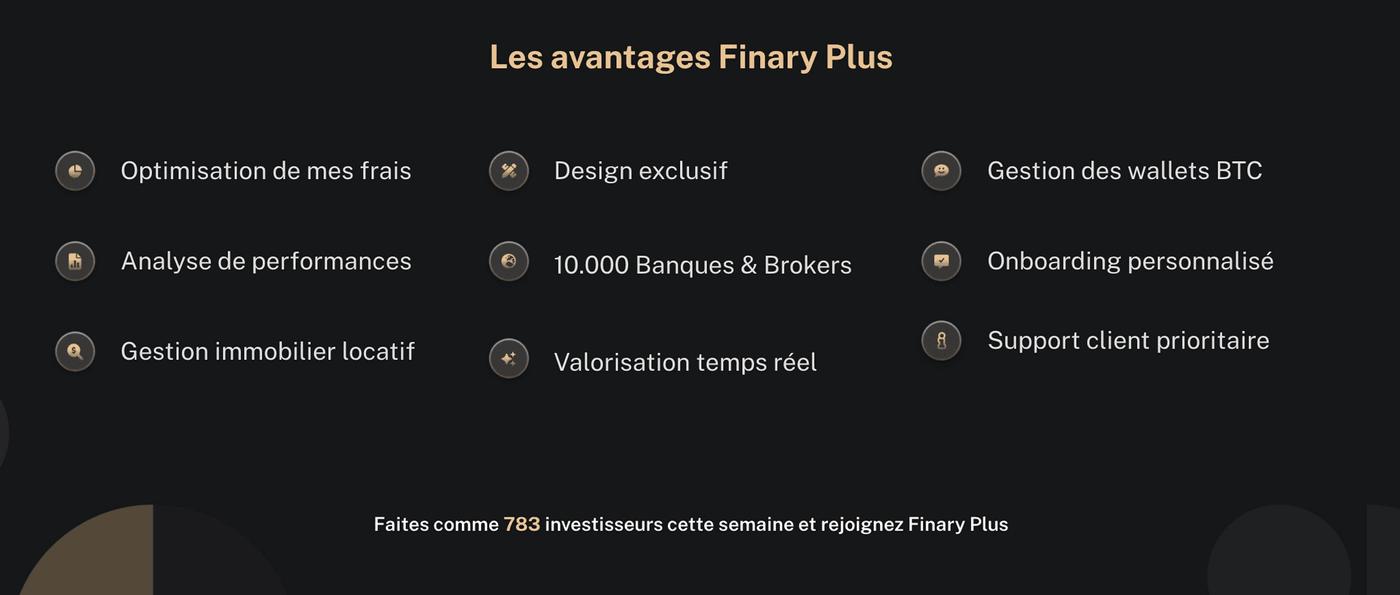 Screenshot site Finary liste avantage Finary Plus