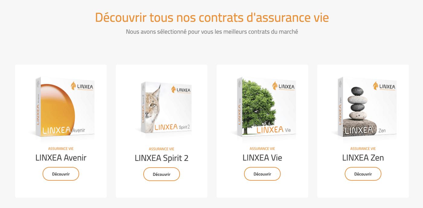 Screenshot contrats assurance vie Linxea