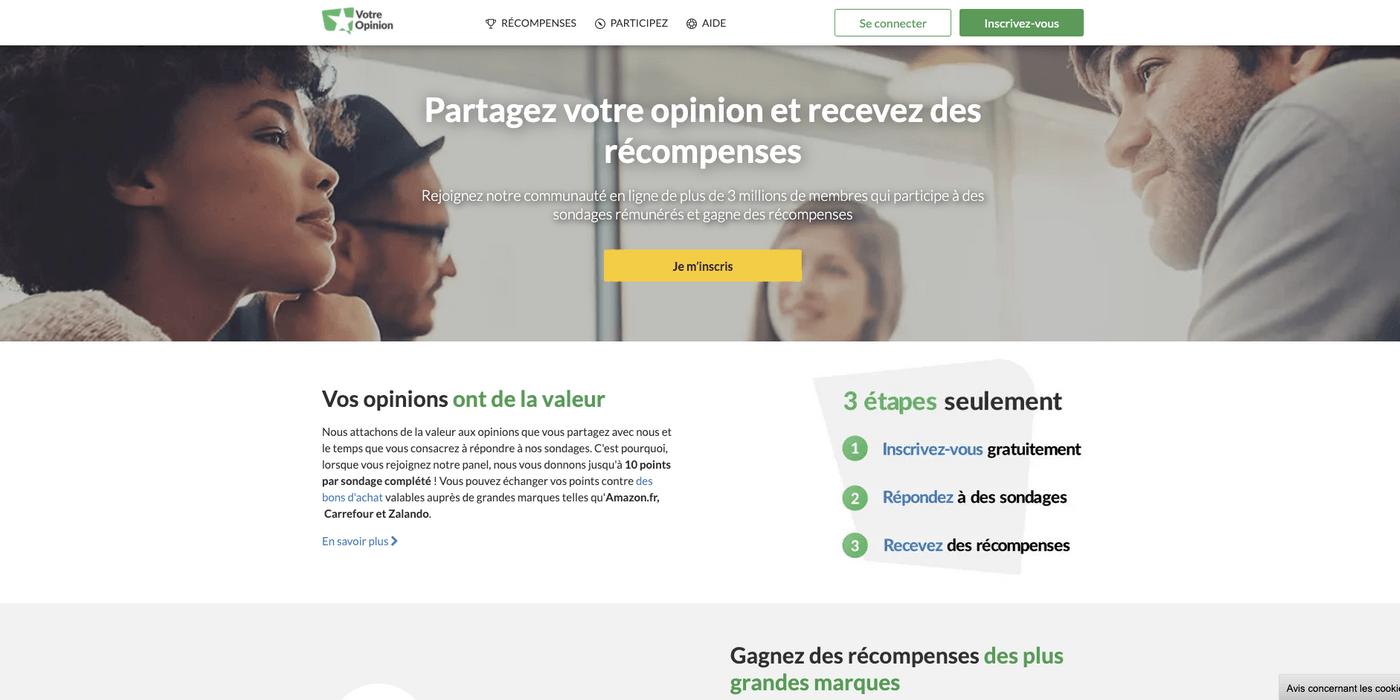 Capture d'écran site de sondages rémunérés Votre Opinion