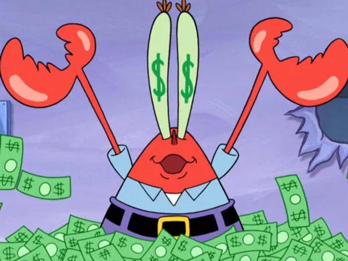 Mr Krabs dans le dessin animé Bob l'Éponge