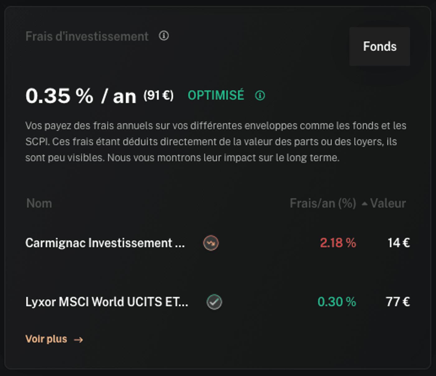 Interface Finary capture écran frais d'investissement