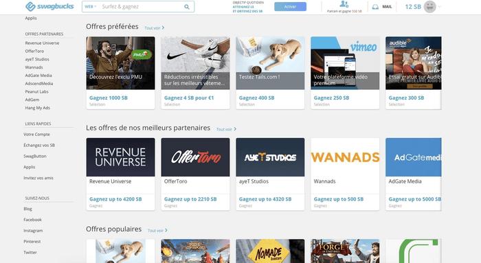 Capture d'écran offres site Swagbucks