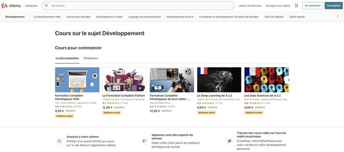 Capture d'écran site Udemy