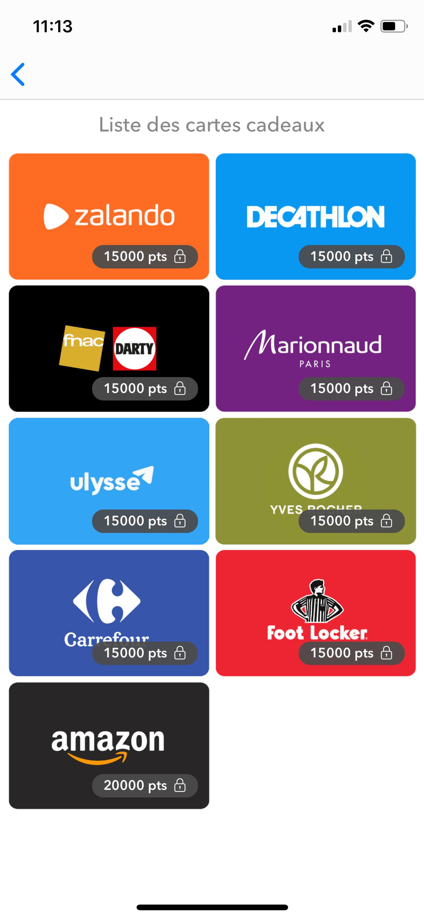 Capture d'écran des récompenses application Joko