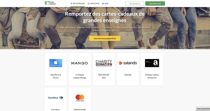 Screenshot page Récompenses site Votre Opinion