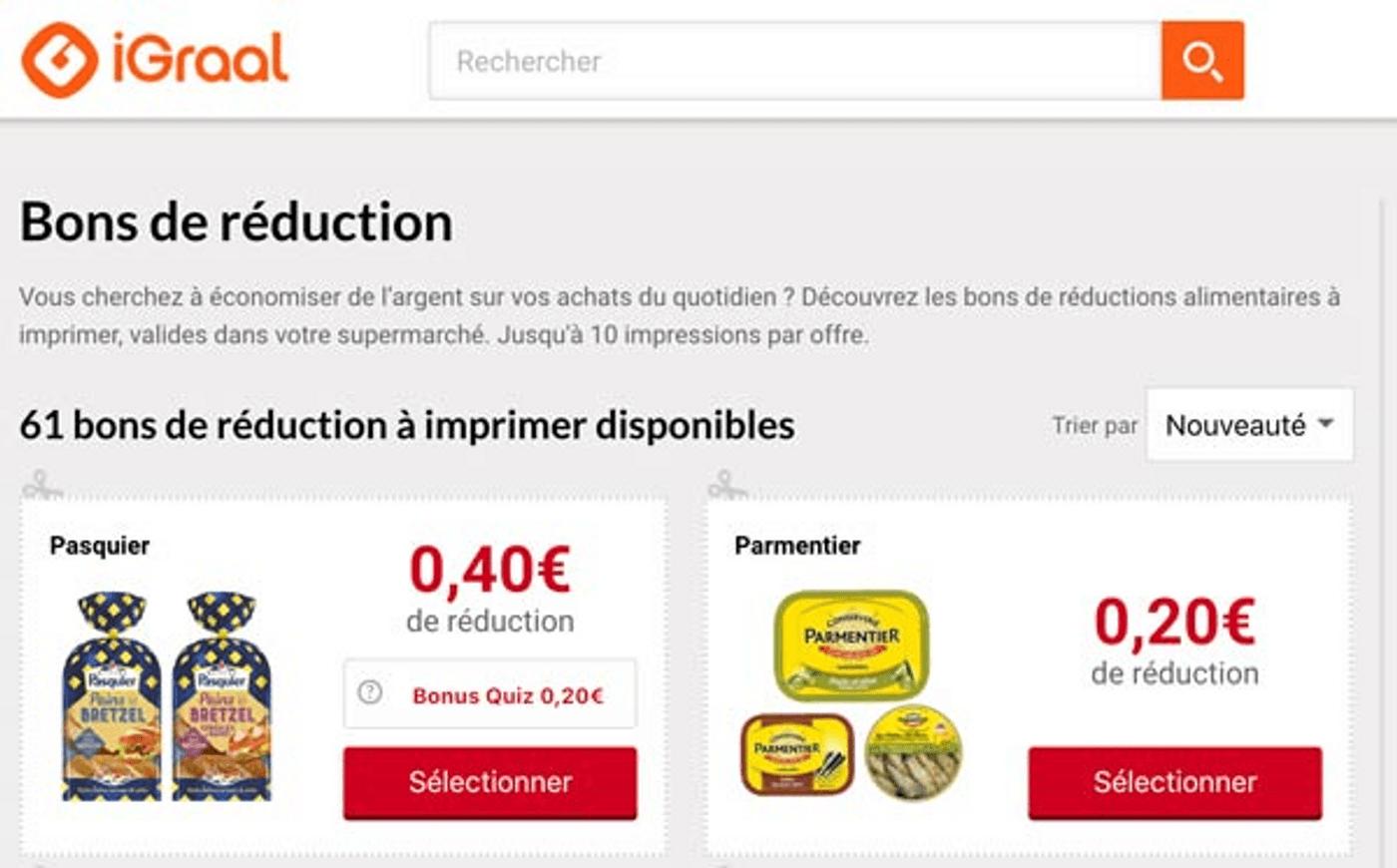 Capture écran site de cashback et réductions iGraal