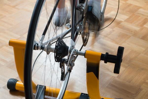 Bicycle tire on trainer stand