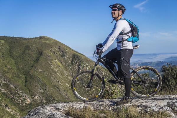 Mountain bike rider on affordable bike