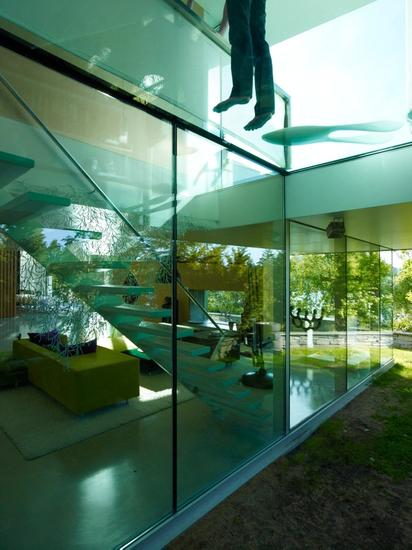 Glass walls, ceiling and floor.