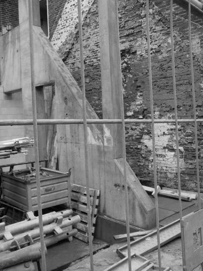 Black and white image of construction site