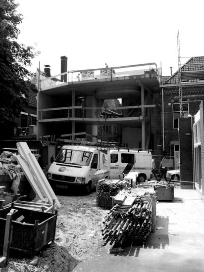 black and white photo from construction site