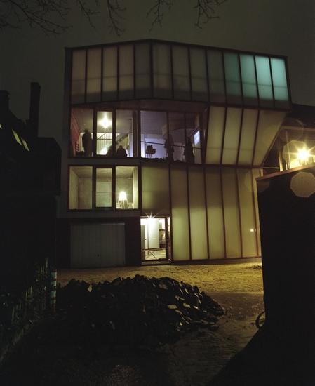 Photo of front facade shot in the dark