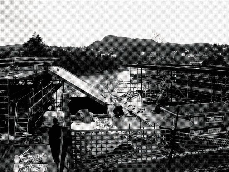 Black and white photo taken during construction.