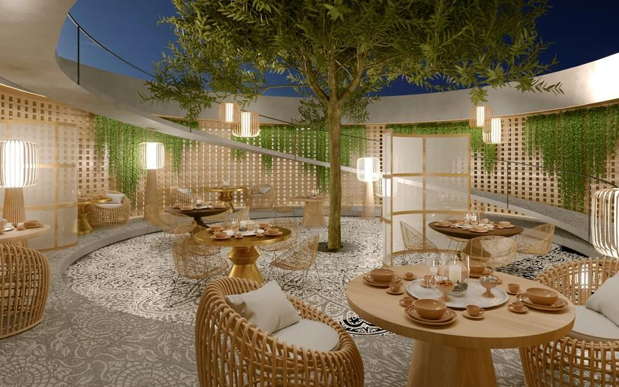 courtyard, access to roof terrace