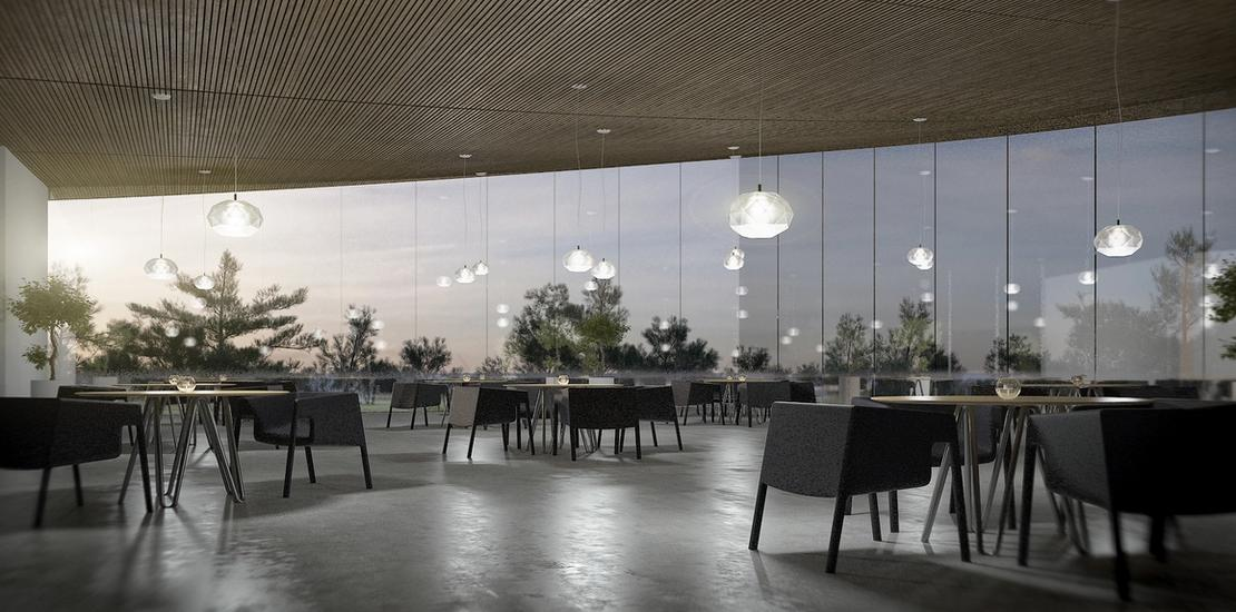 Panoramic views from the ground-level restaurant