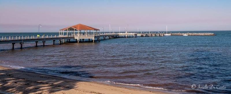 Redcliffe Jetty with smoke haze from all the fires in Queensland.