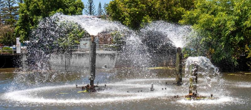 Fountains are not often seen working in this drought time.