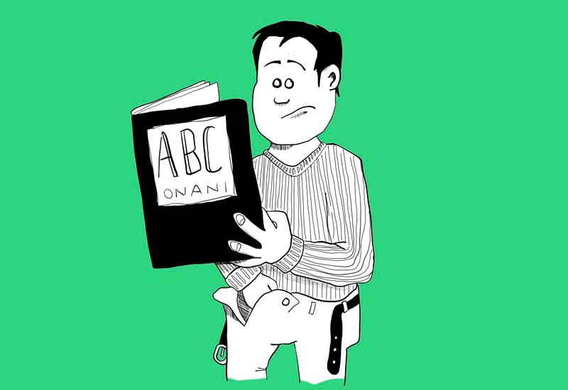 Tegning av gutt med bok om onani i hånda og den andre hånda i buksa (Ill: ung.no)