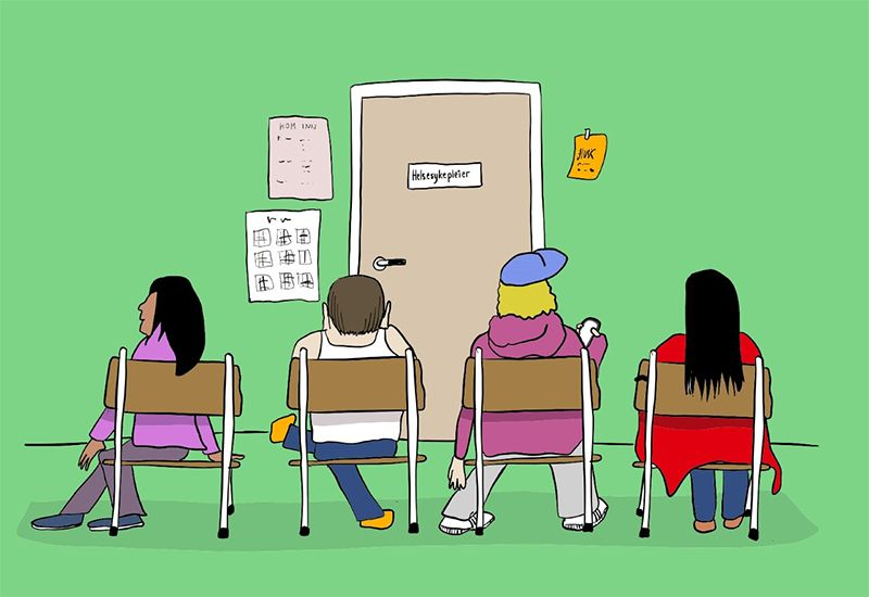 Tegning av venterommet hos helsesykepleieren (illustrasjon: ung.no)