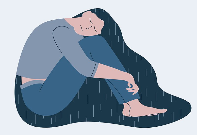 Illustrasjon av nedstemt jente med regnfull sky rundt seg.