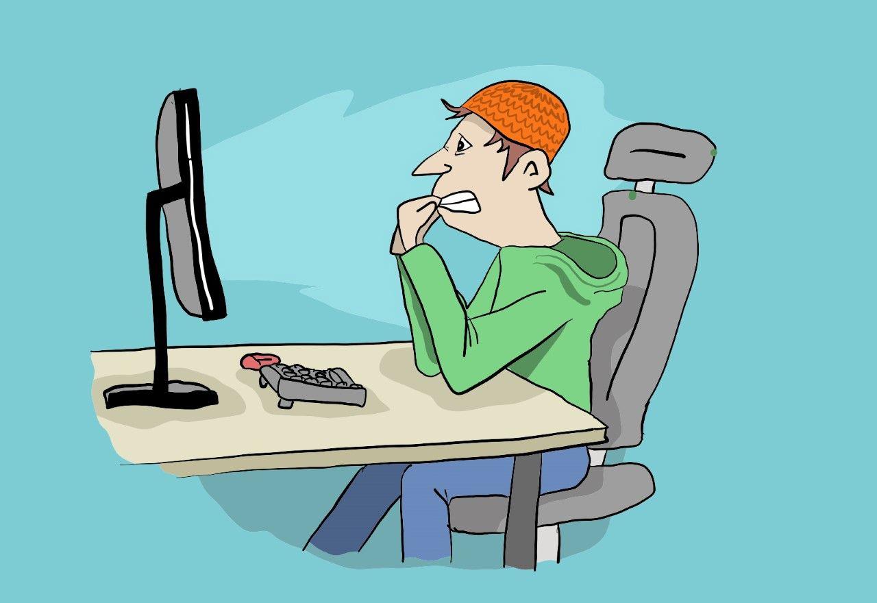 Tegning av nervøs gutt som biter negler foran PCen (Illustrasjon: ung.no)