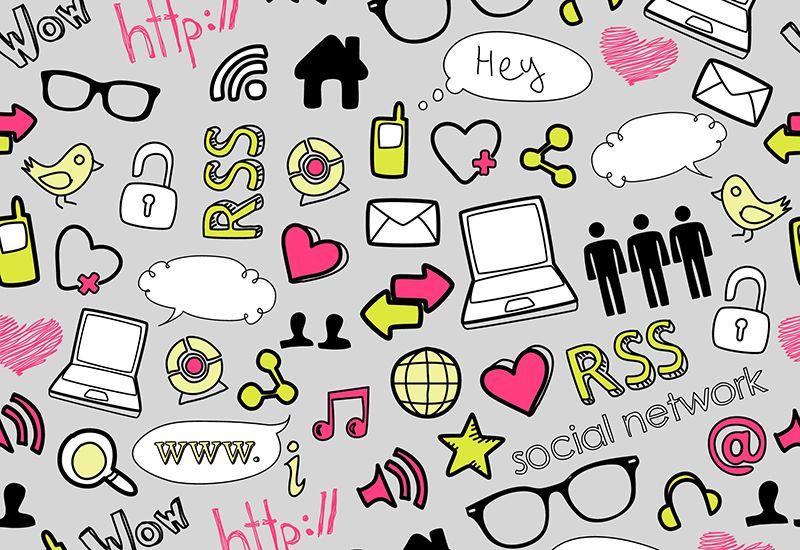Mønster med sosiale medier, reklmae, osv.(colourbox.com)
