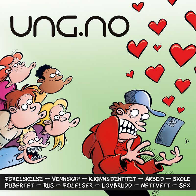 Forsiden på ung.no-brosjyre (strandcomics.no)