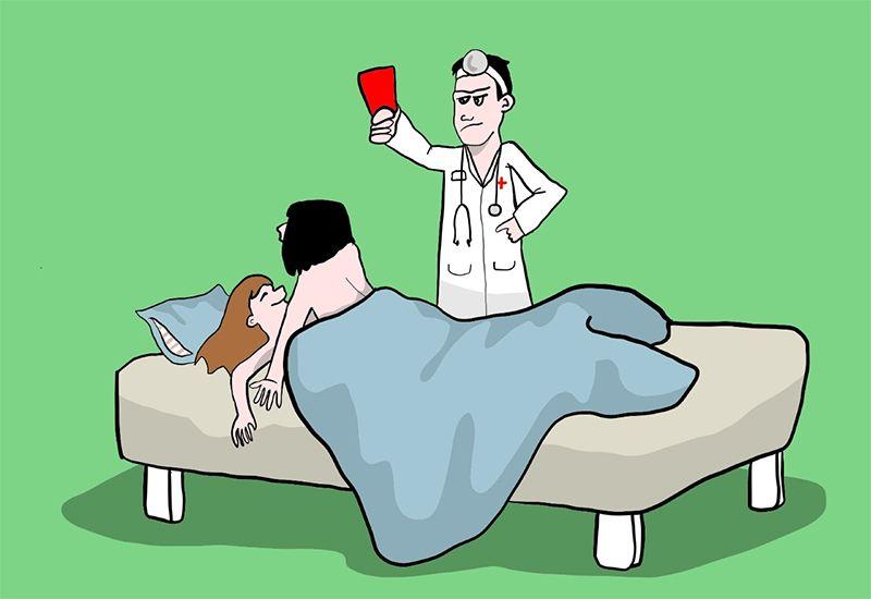 Tegning av et par i senga som før rødt kort av en lege (ung.no)