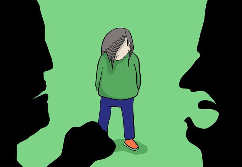 Tegning av jente som får kjeft og trusler. (ung.no)