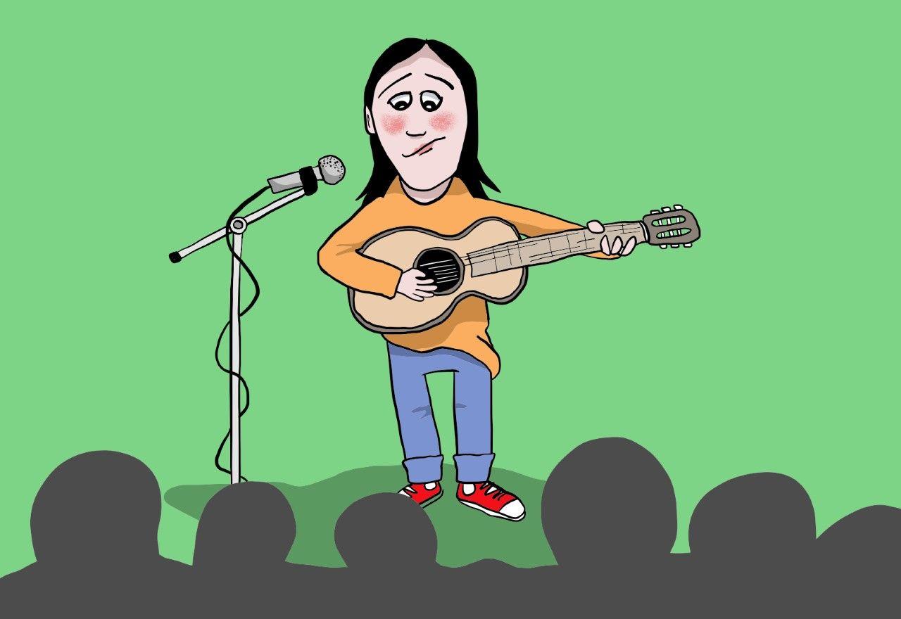 Tegning av ei flau jente som står på ei scene og skal synge og spille gitar. Illustrasjon: ung.no