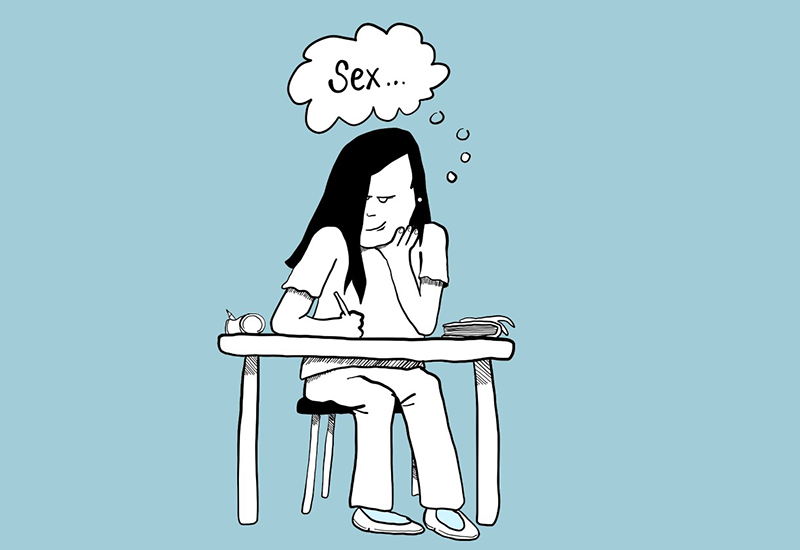 Jente sitter på skolen og tenker på sex (Tegning: ung.no)