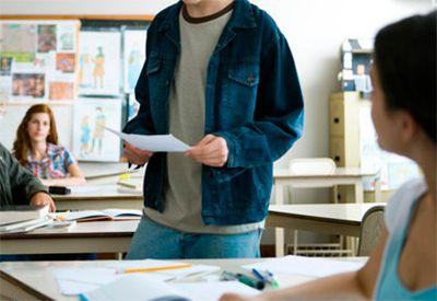 Framføring i klasserom (colourbox.com)