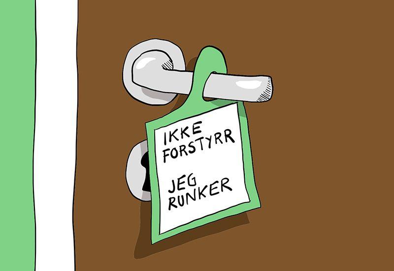 """Tegning av et dørskilt der det står: """"Ikke forstyrrr - jeg runker""""."""