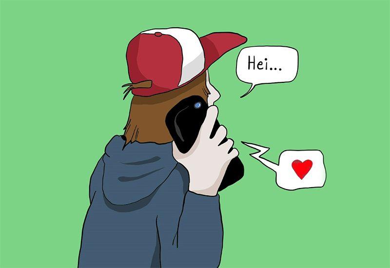 Tegning av en gutt som ringer med mobilen (illustrasjon: ung.no)