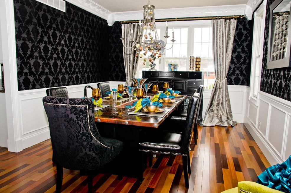 Eclectic Black Damask & Metallic Dining room