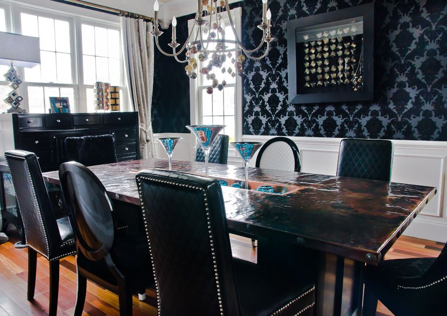 Ecletic Black Damask, Metallic Dining Room