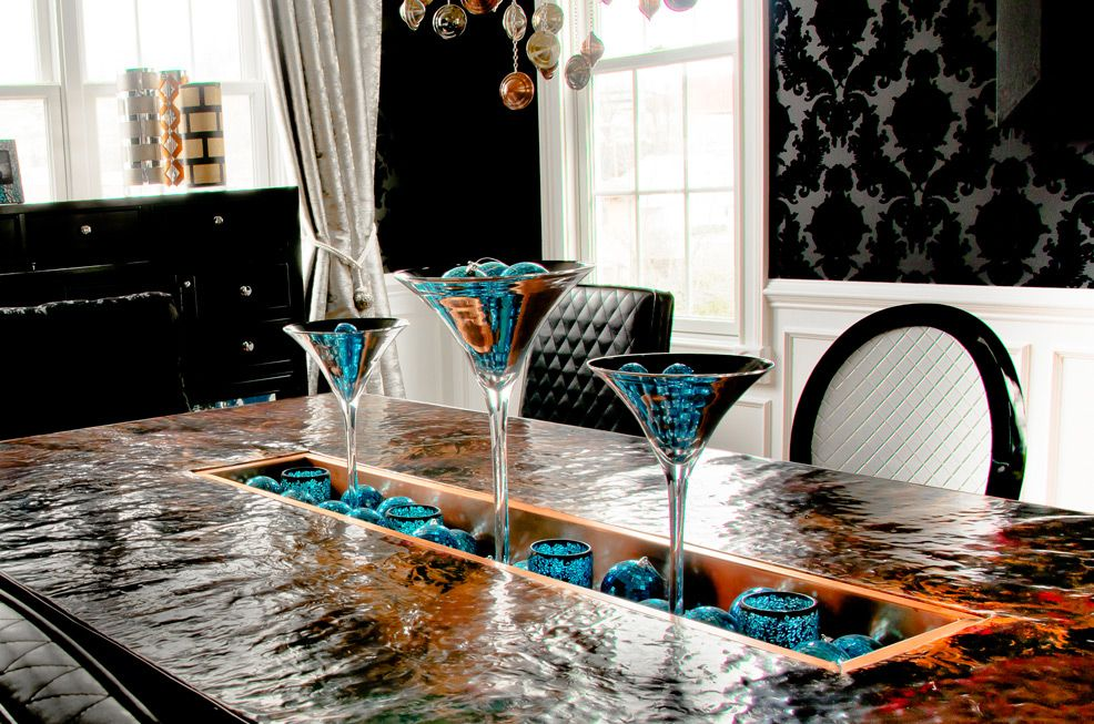 Ecletic Black Damask, Metallic Diningroom