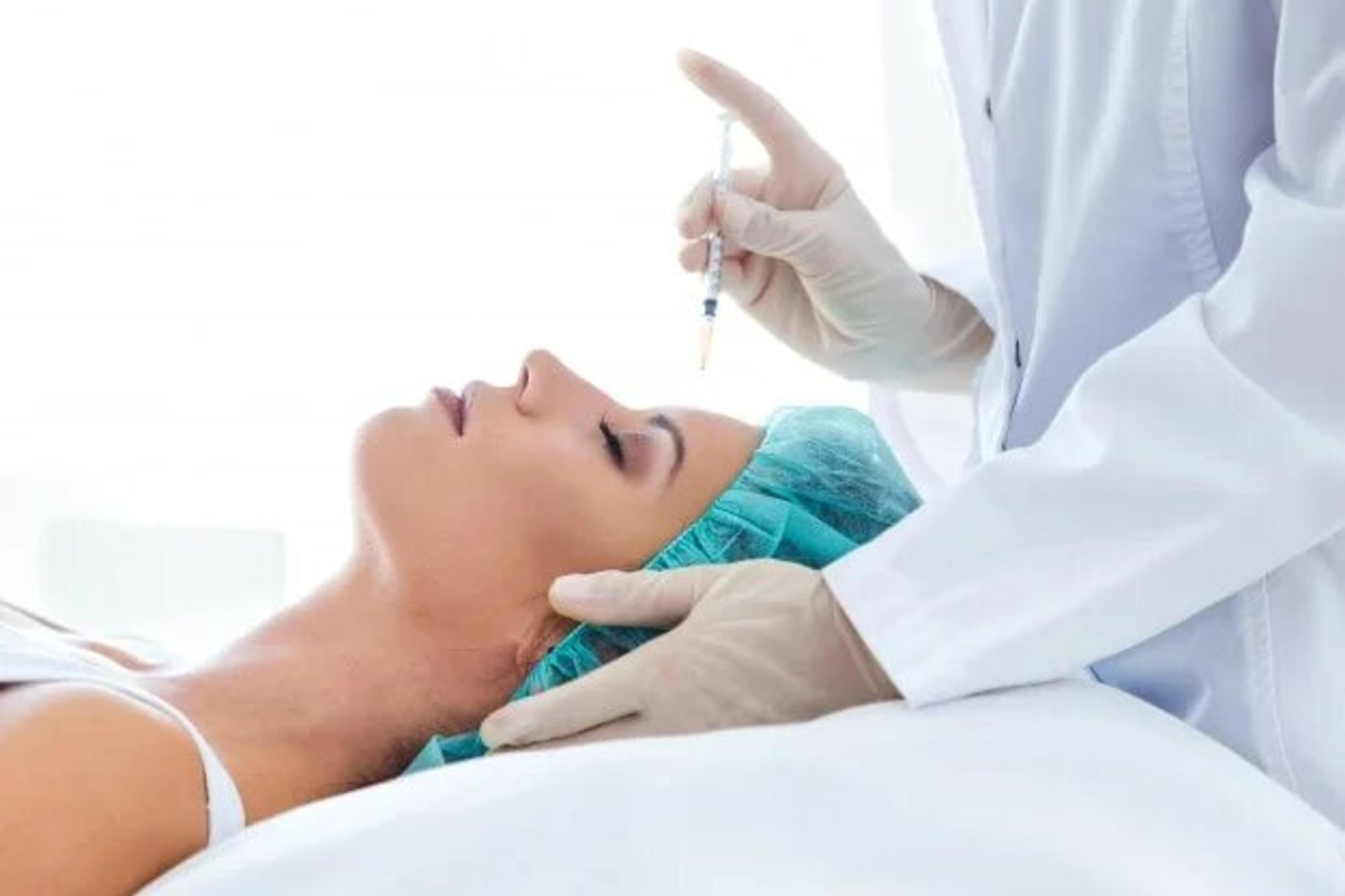 Patient receiving injection in the face