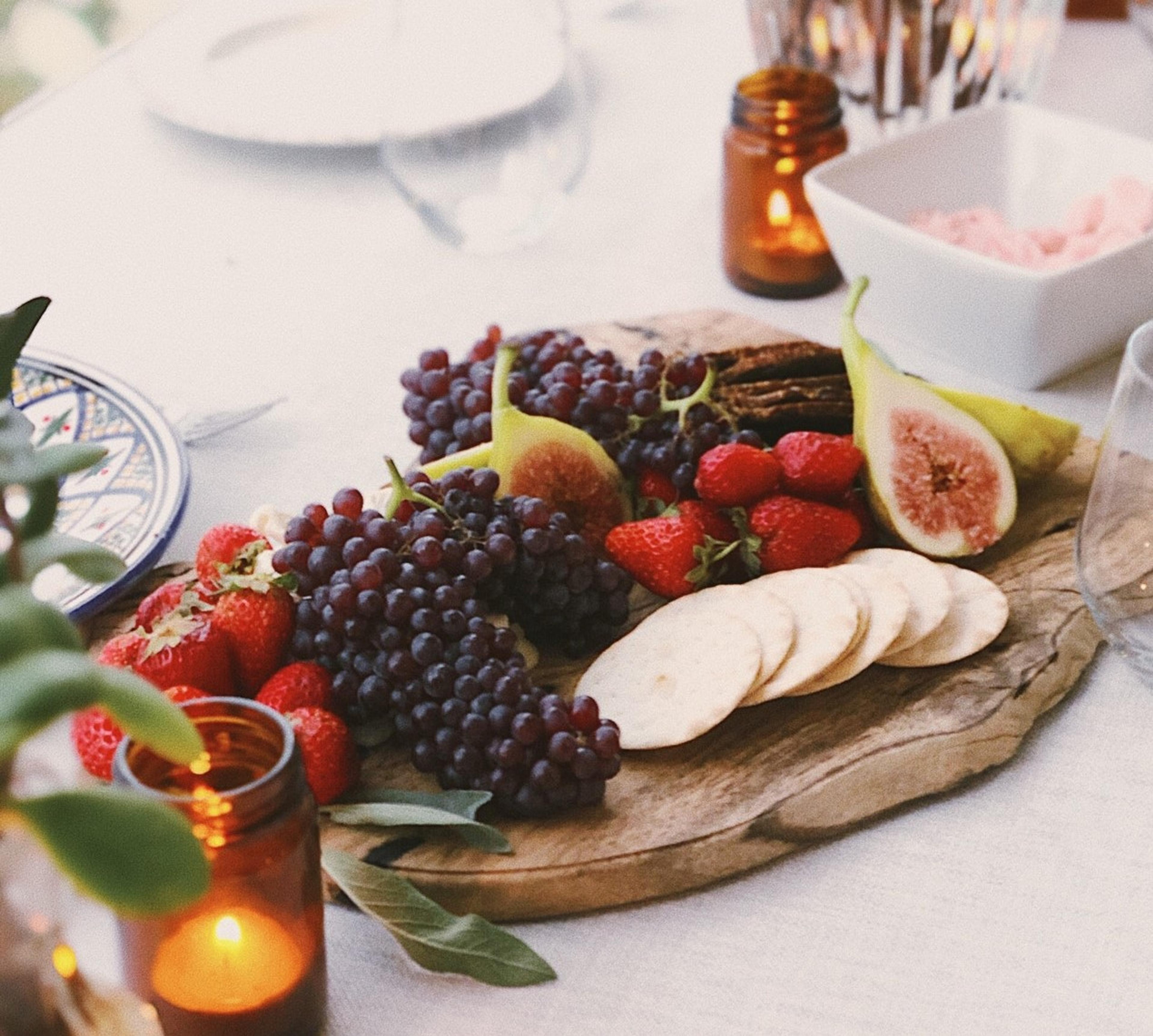 Grazing board with fruits and crackers