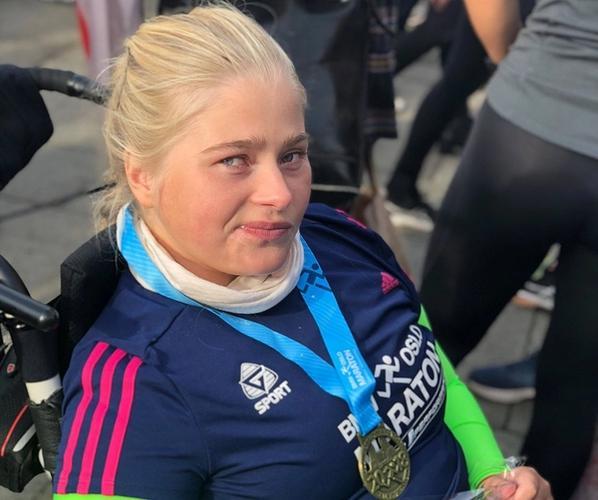 Katarina i mål på Oslo Maraton
