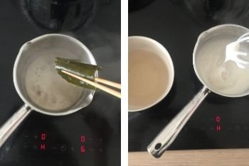 Zubereitung der Dashima-Brühe und Reispaste