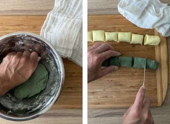 Teig (grün) & Teig schneiden