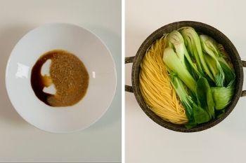 Nudeln und Pak Choi kochen