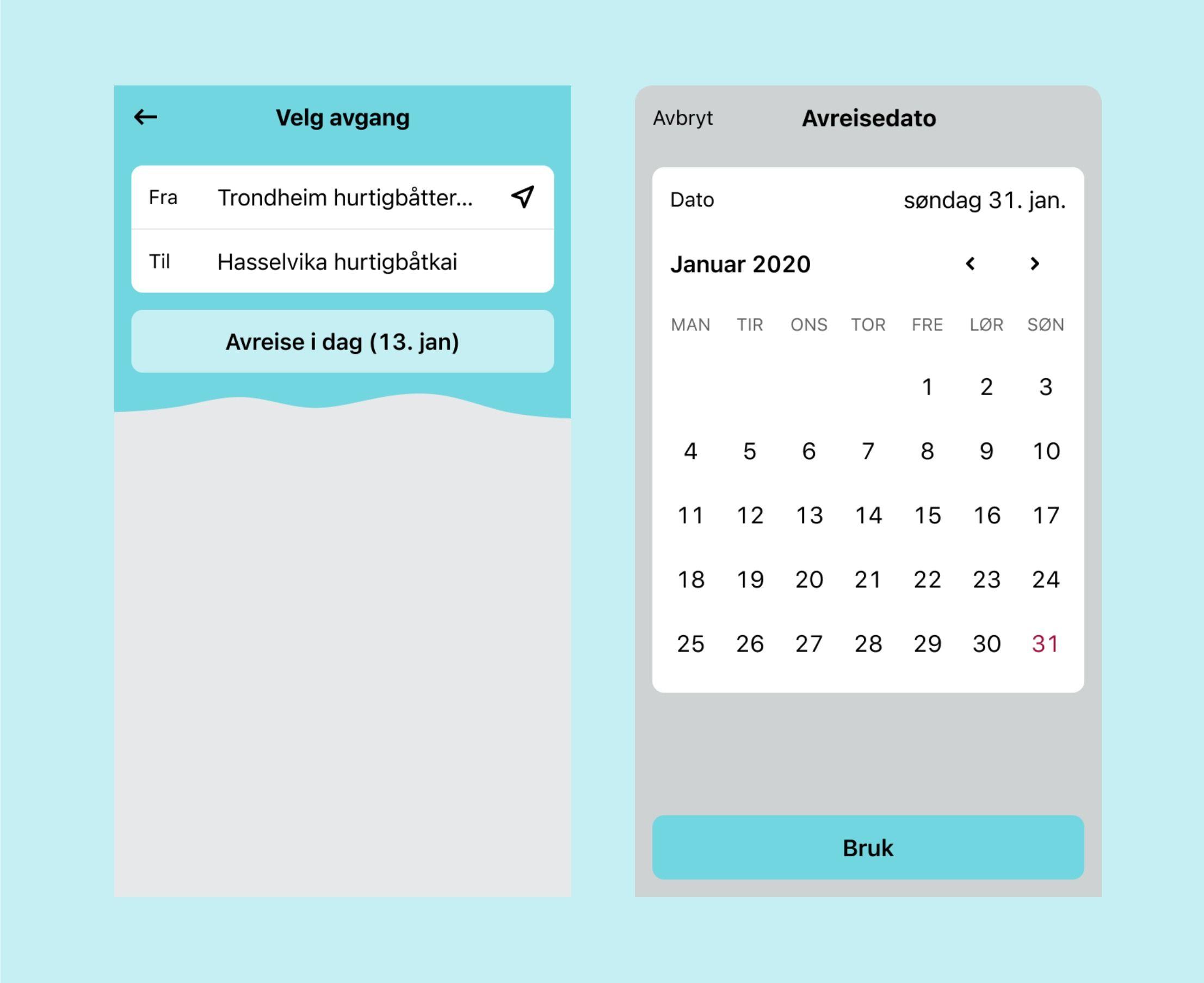 To skjermbilder som viser hvordan man kan velge gyldighetstidspunkt frem i tid
